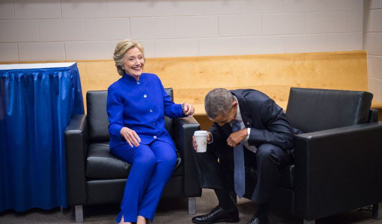 Obama and Hillary laughing their pants off.