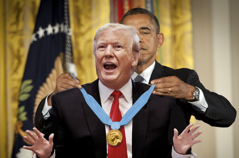 The White House releases a doctored photo of Obama giving President Trump the Noblest Peace Prize.