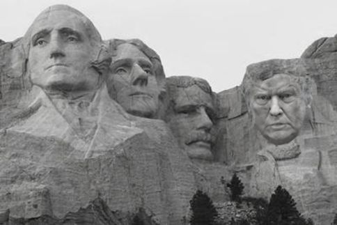 Trump takes over Lincoln's spot not only in the polls, but also on Mt. Rushmore.