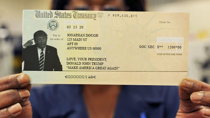 The new design of the Treasury Check featuring Donald Trump replacing Lady Liberty.